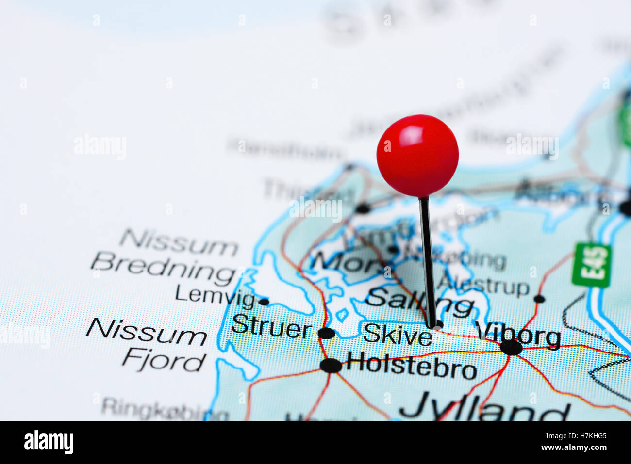Skive pinned on a map of Denmark Stock Photo Royalty Free Image