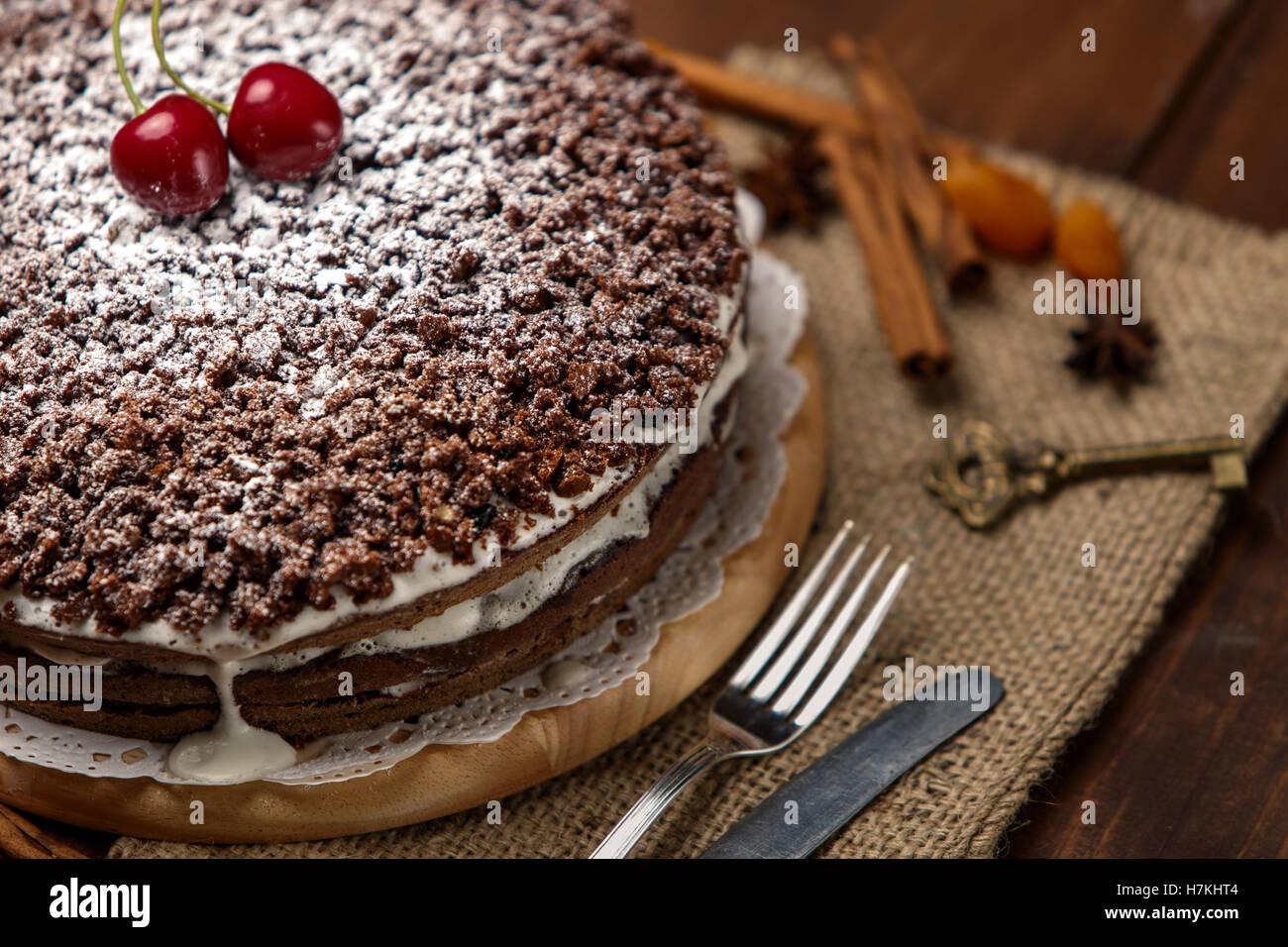 Homemade chocolate pie Stock Photo, Royalty Free Image: 125206260 ...
