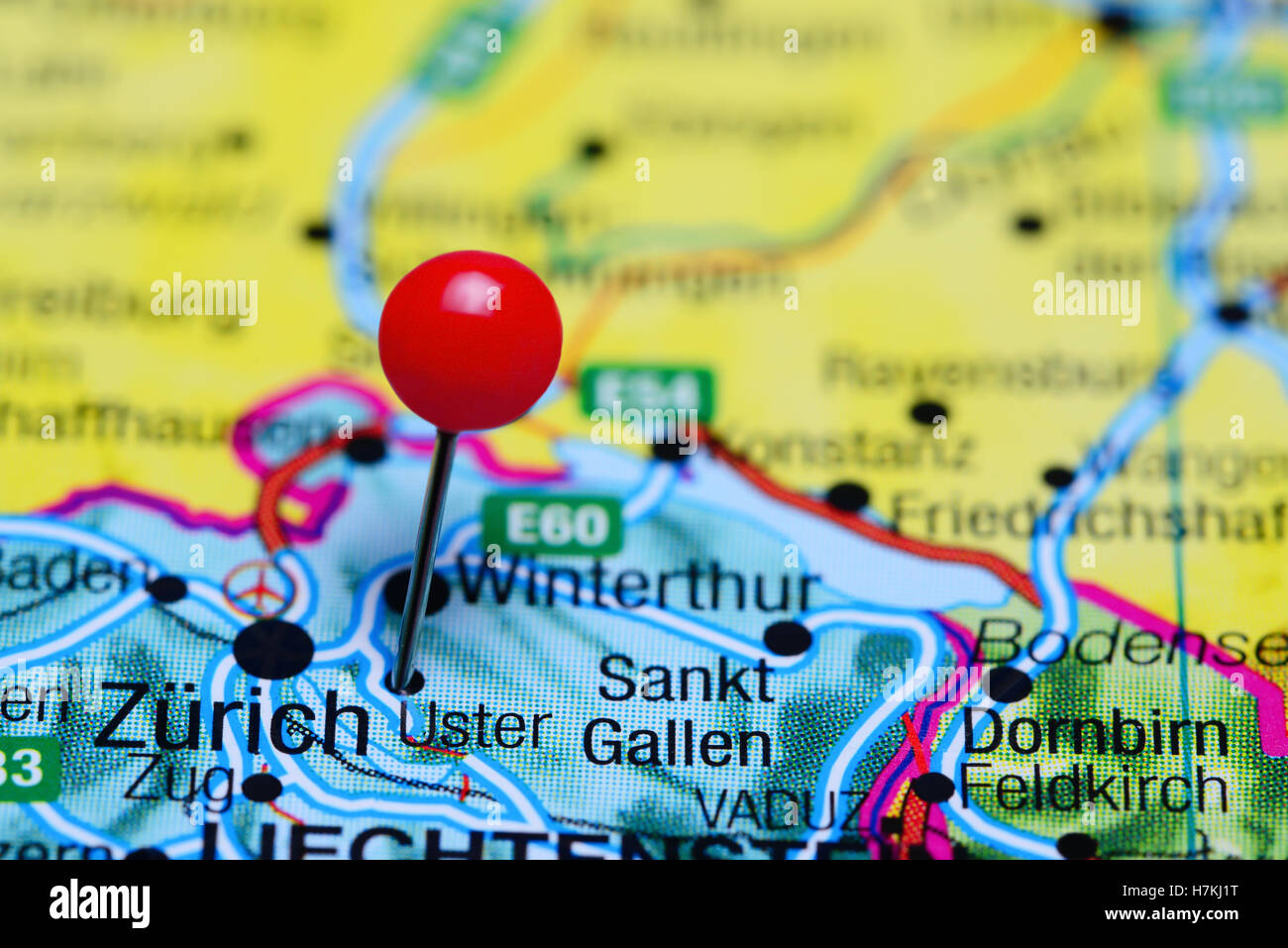 Uster pinned on a map of Switzerland Stock Photo Royalty Free Image