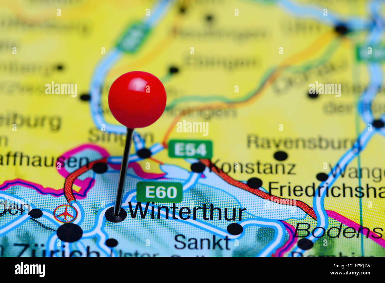 Winterthur pinned on a map of Switzerland Stock Photo Royalty Free