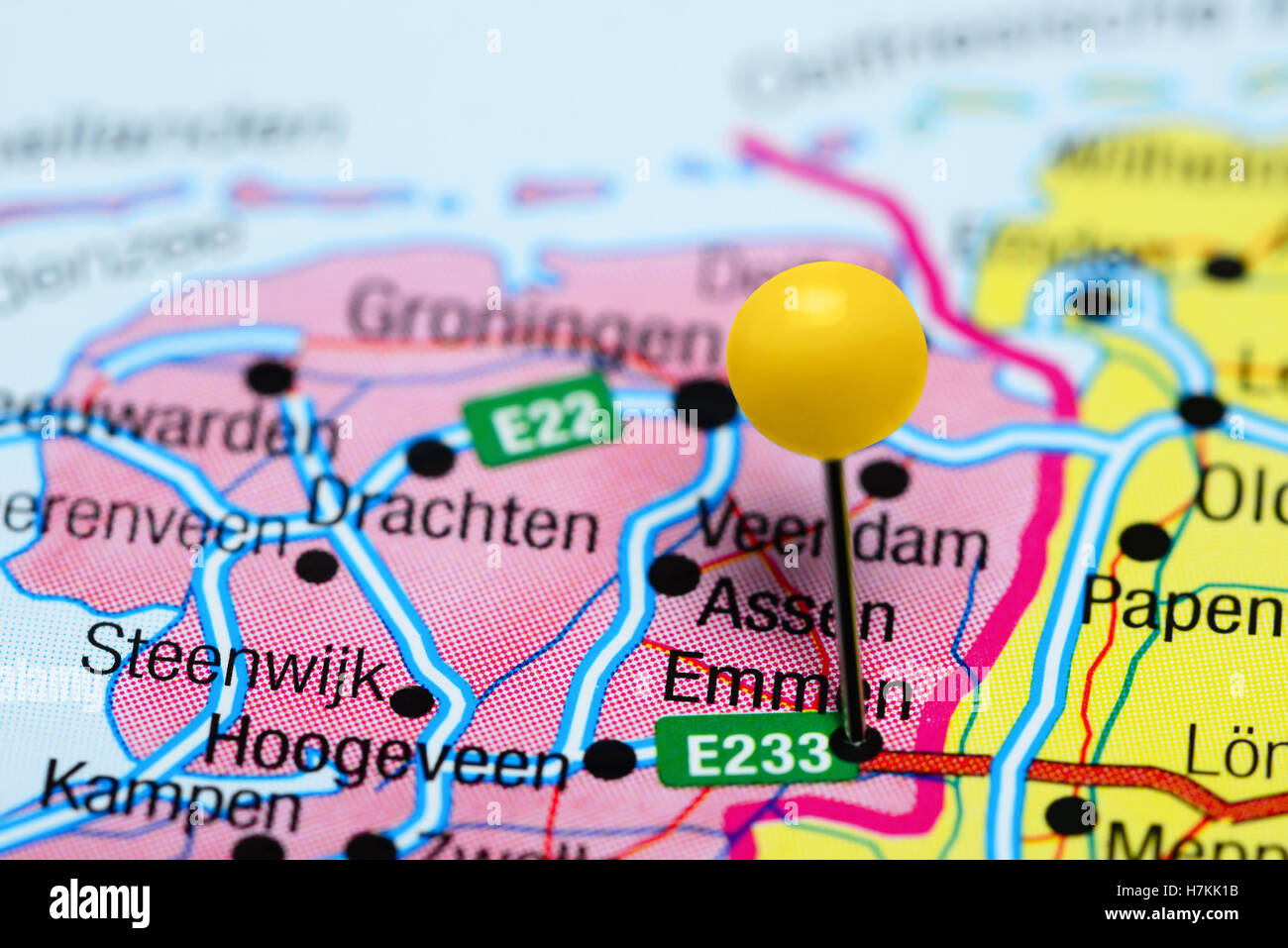 Emmen pinned on a map of Netherlands Stock Photo 125207191 Alamy