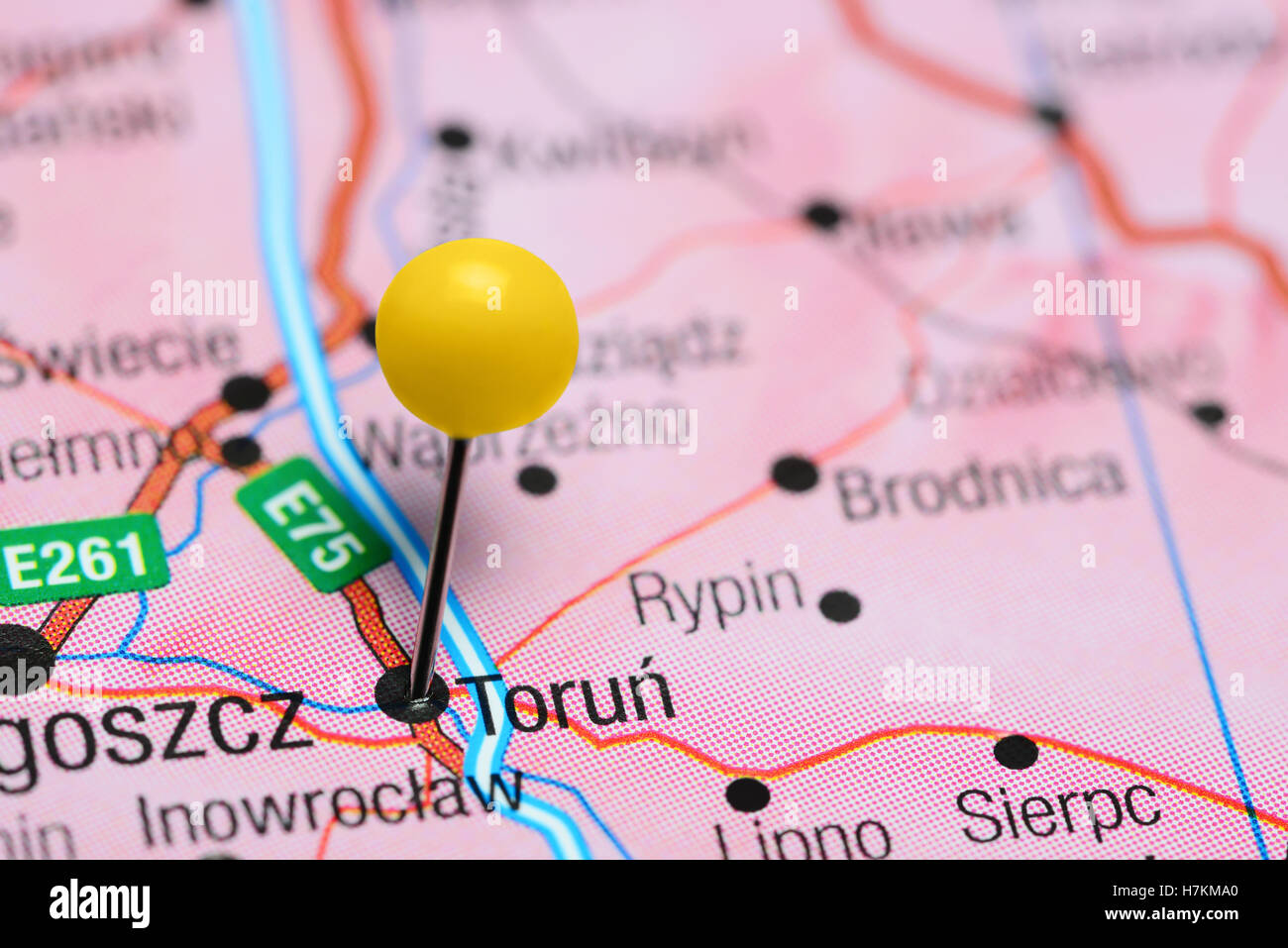 Torun pinned on a map of Poland Stock Photo 125208216 Alamy