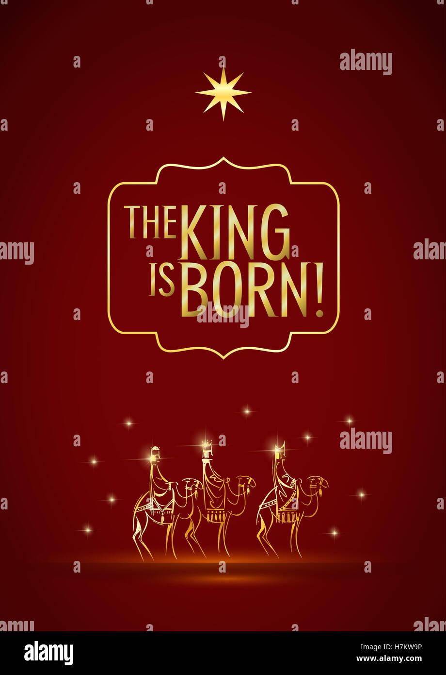 Stylized Biblical Christmas illustration: three Wise Men are ...