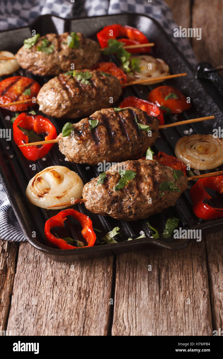 arabian kebab with grilled vegetables on the grill pan on the table stock photo 125226280 alamy. Black Bedroom Furniture Sets. Home Design Ideas