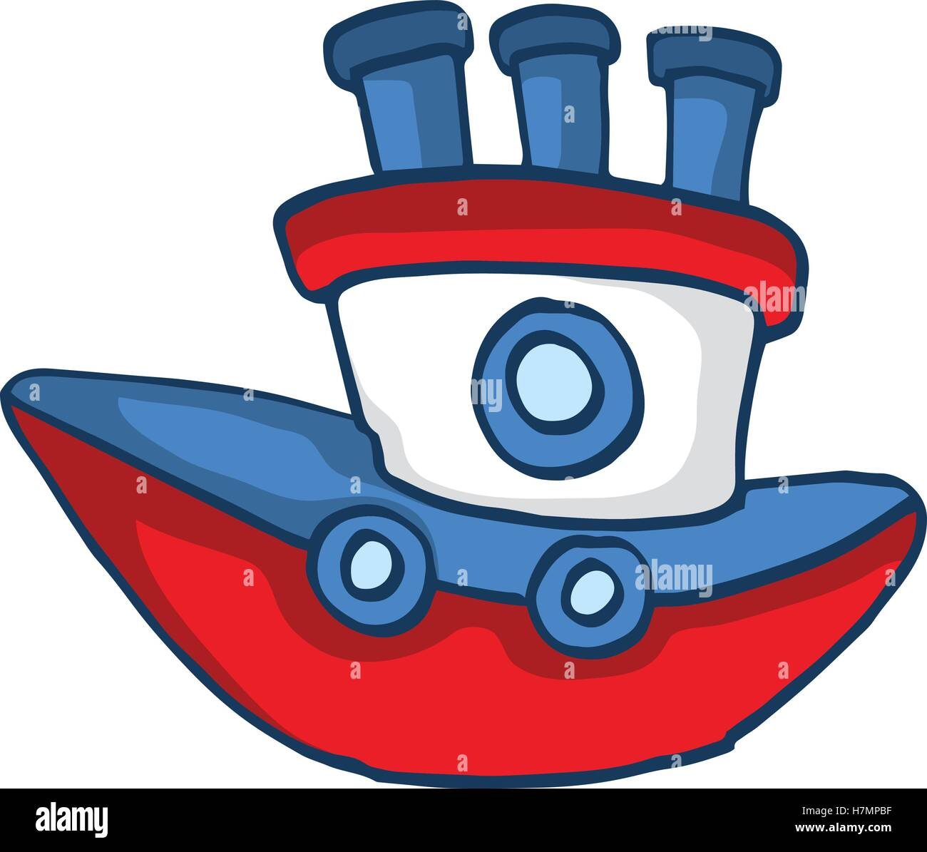 modern ship cartoon vector illustration for kids design stock