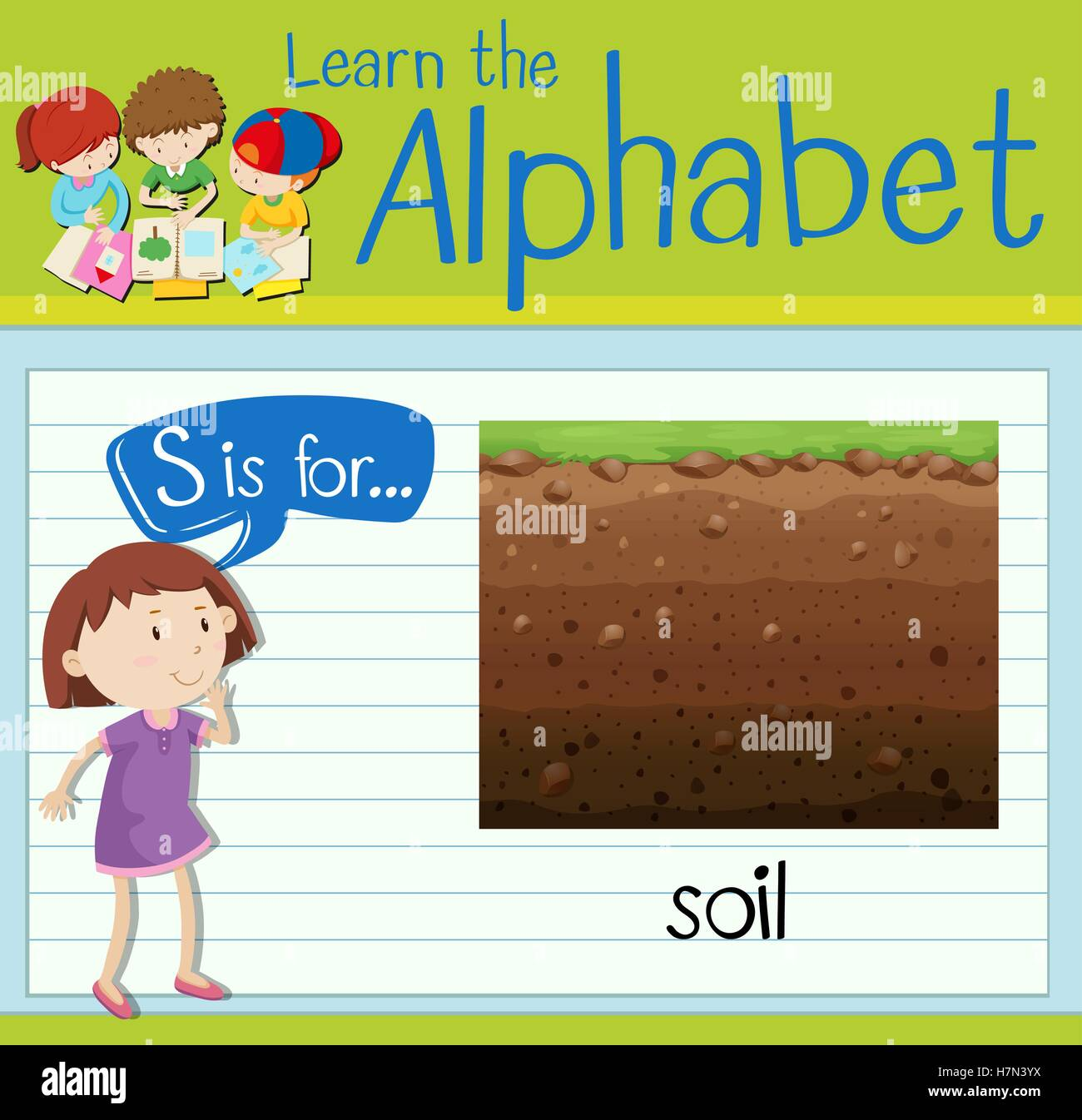 Flashcard letter s is for soil illustration stock vector for Soil 8 letters