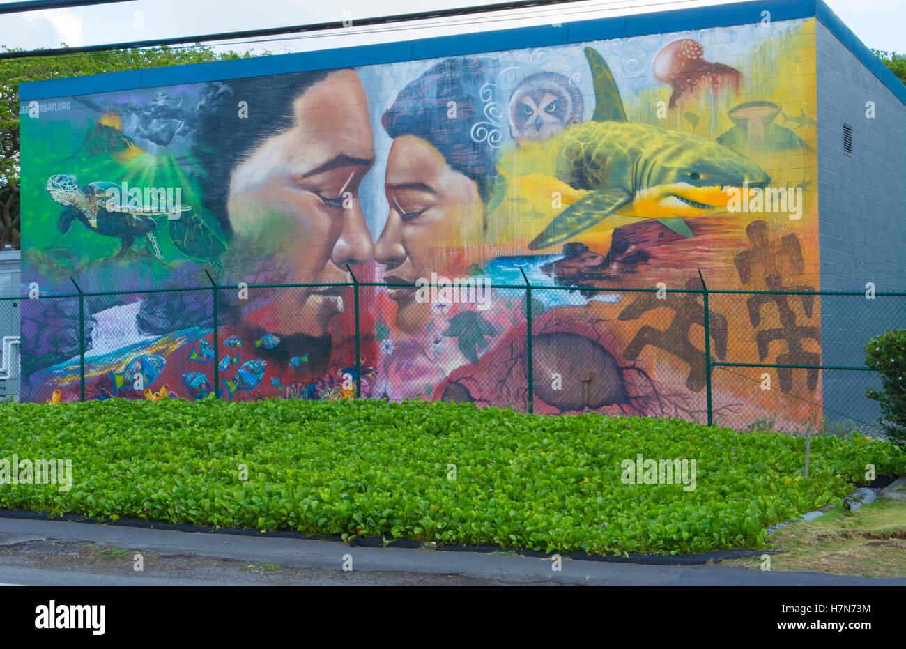 Honolulu hawaii oahu artwork of hawaiian mural in small town of honolulu hawaii oahu artwork of hawaiian mural in small town of waimanalo on south oahu amipublicfo Image collections