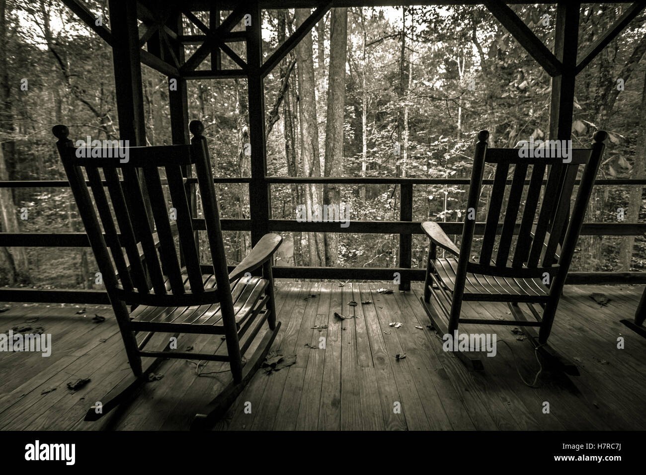 Empty Rocking Chairs On Front Porch. Two Empty Wooden Rocking Chairs On A  Wooden Front Porch Overlooking The Forest