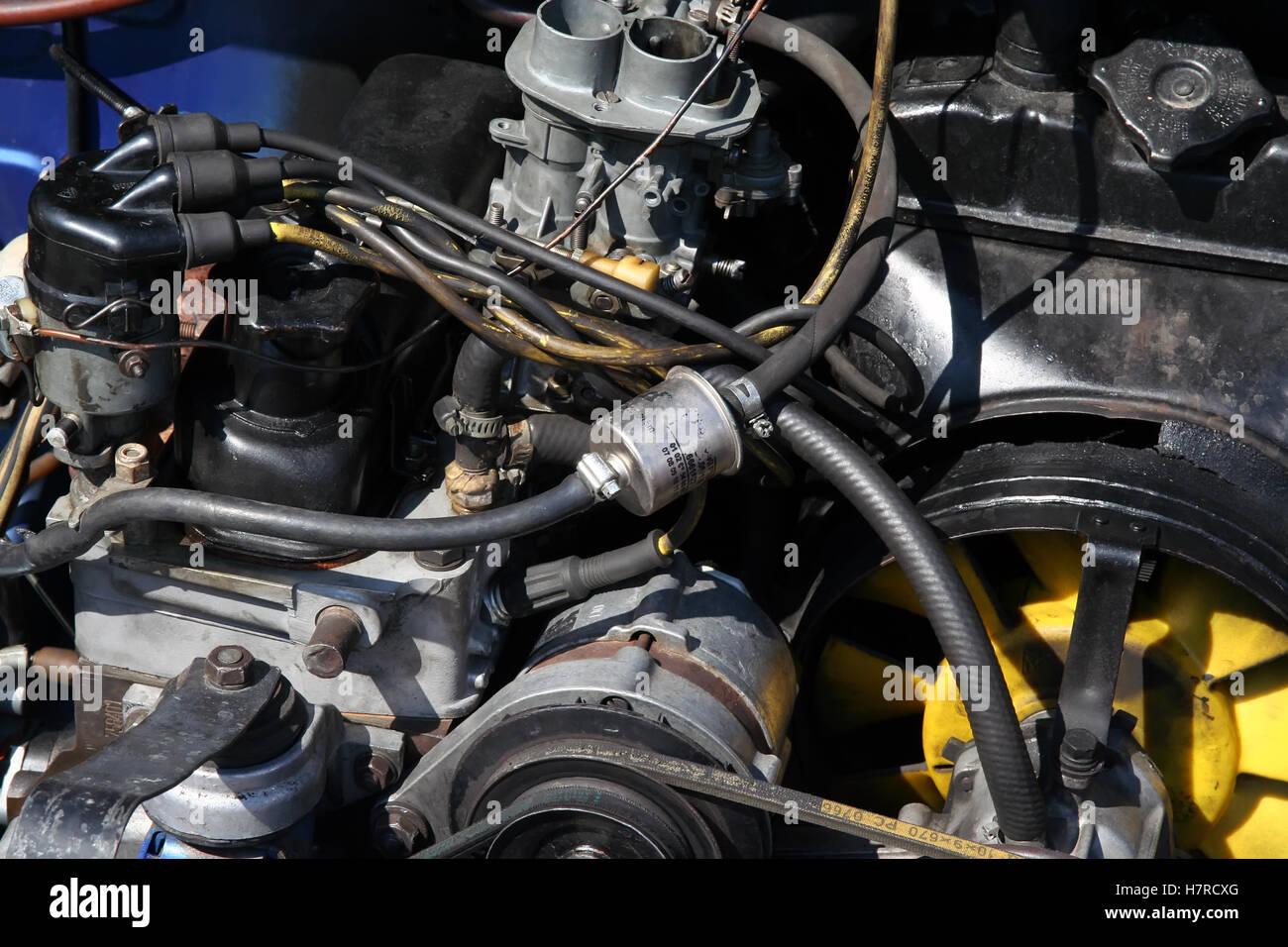 Old car engine. Old gasoline fueled engine. Oldtimer engine. Turbo ...