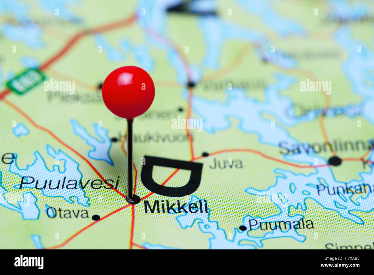 Mikkeli pinned on a map of Finland Stock Photo Royalty Free Image
