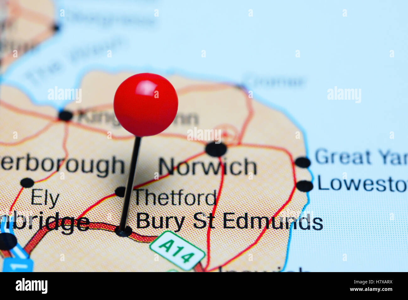 Bury St Edmunds pinned on a map of UK Stock Photo Royalty Free