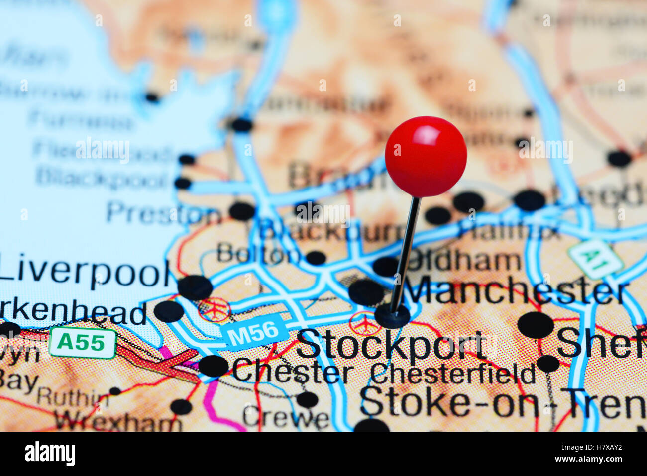 Stockport pinned on a map of UK Stock Photo Royalty Free Image