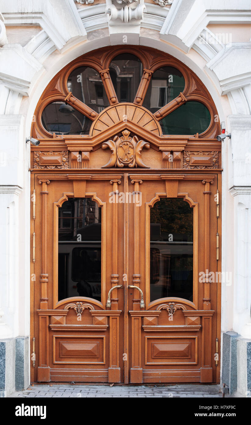 old wooden Front Door of a Traditional European Town House & old wooden Front Door of a Traditional European Town House Stock ...