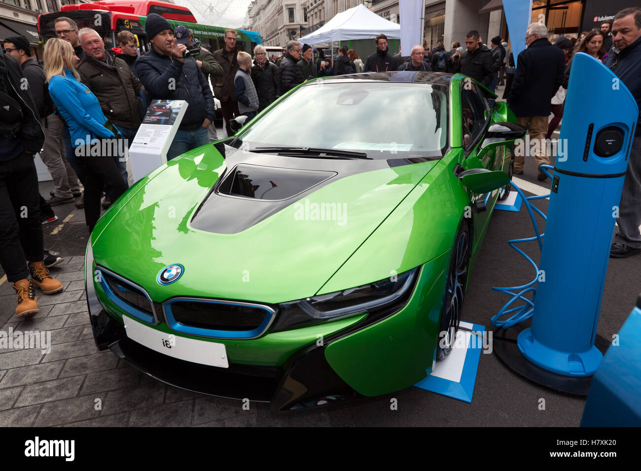 bmw i8 plug in hybrid sports car on display in the low emission stock photo royalty free. Black Bedroom Furniture Sets. Home Design Ideas