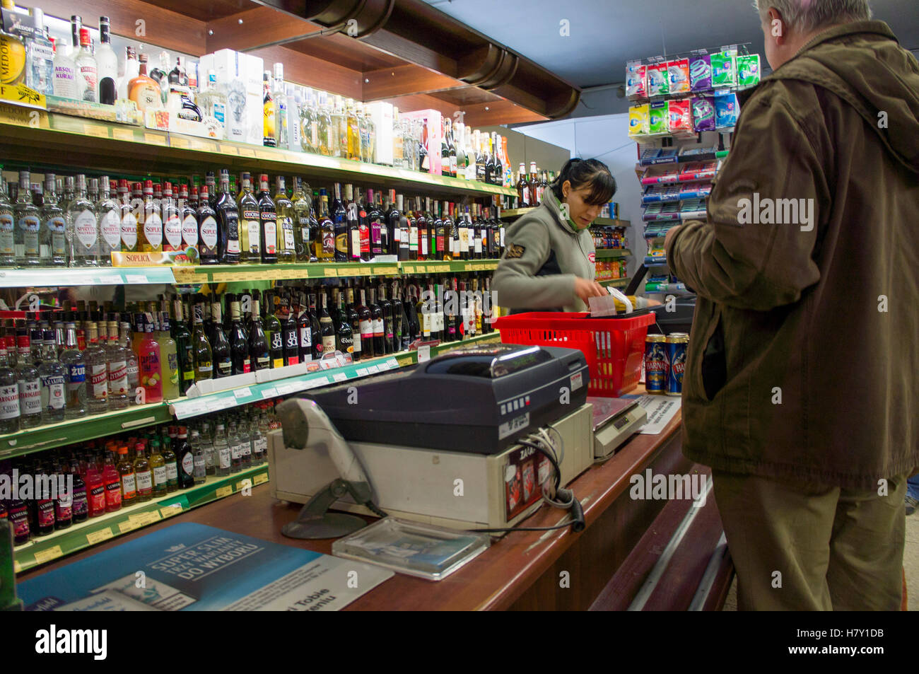 shopping liquor store shop soplica vodka alcohol seller stock photo shopping liquor store shop soplica vodka alcohol seller s assistant cash desk