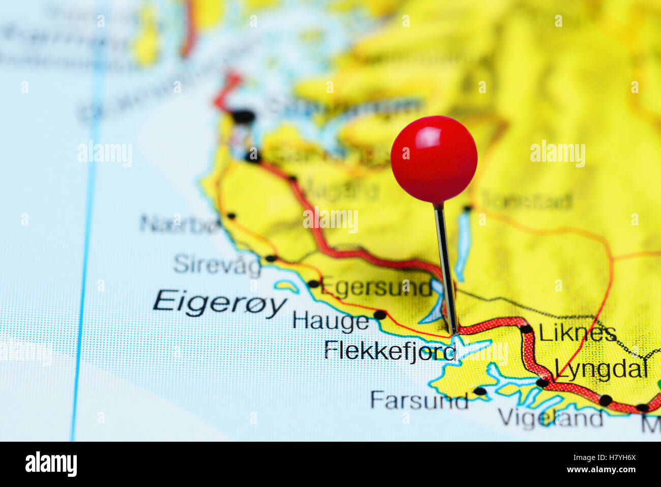 Flekkefjord pinned on a map of Norway Stock Photo Royalty Free