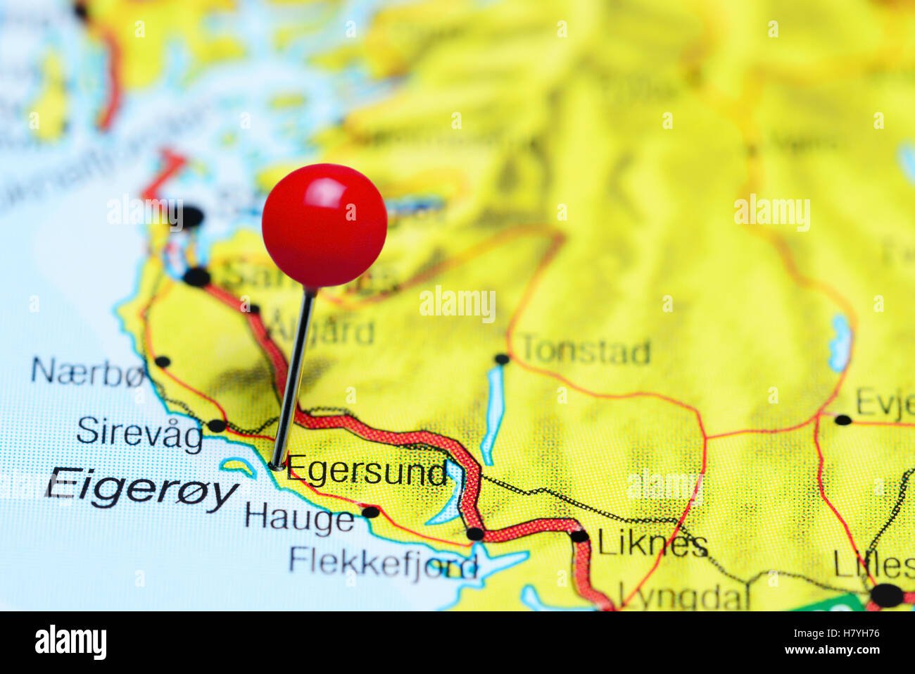 Egersund pinned on a map of Norway Stock Photo Royalty Free Image