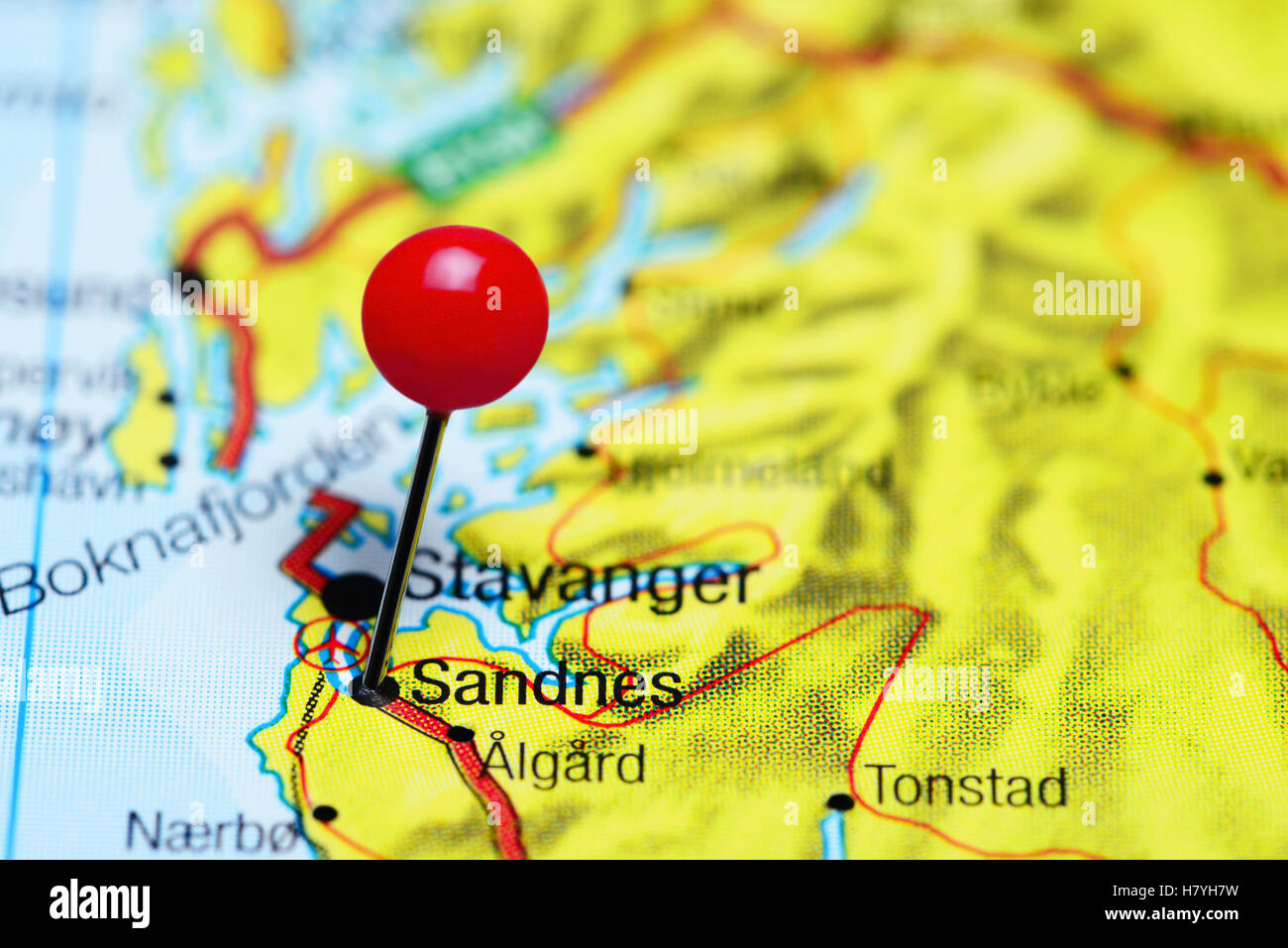 Sandnes pinned on a map of Norway Stock Photo Royalty Free Image