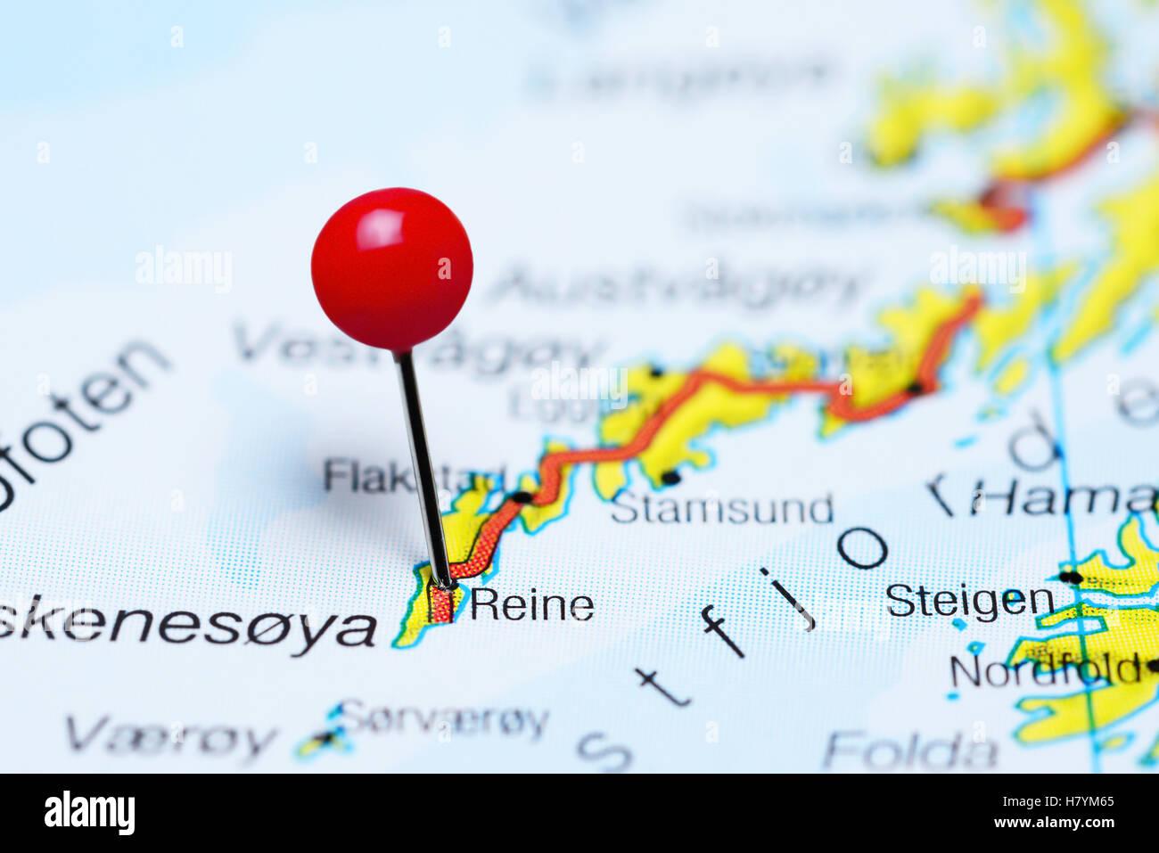 Reine Pinned On A Map Of Lofoten Islands Norway Stock Photo - Norway map lofoten islands