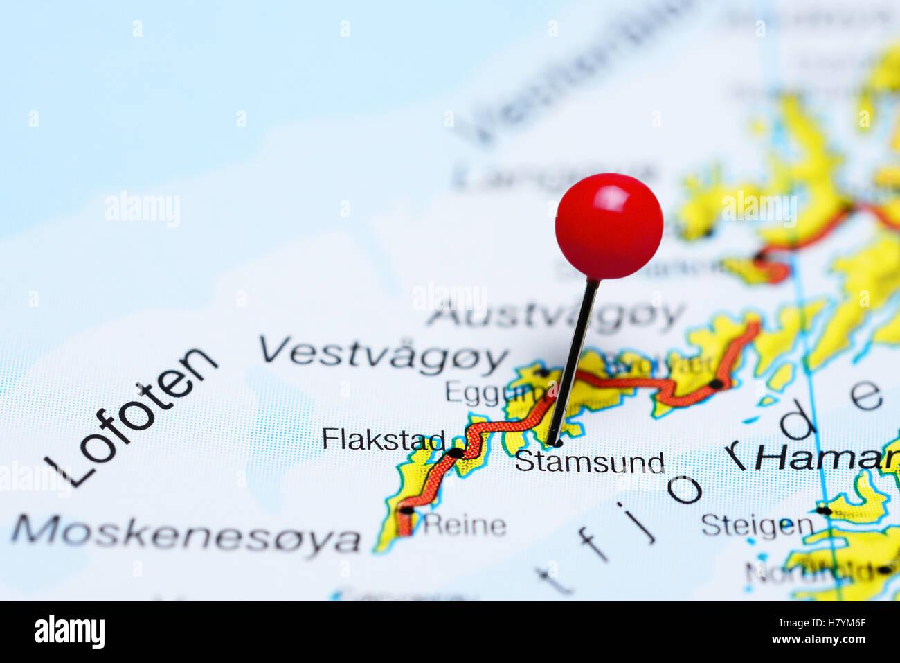 Stamsund Pinned On A Map Of Lofoten Islands Norway Stock Photo - Norway map lofoten islands