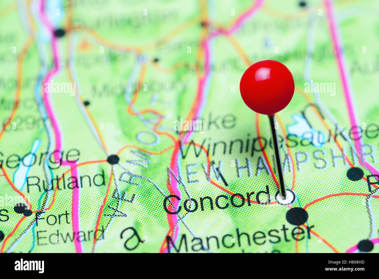 Concord Pinned On A Map Of New Hampshire USA Stock Photo Royalty - Concord usa map