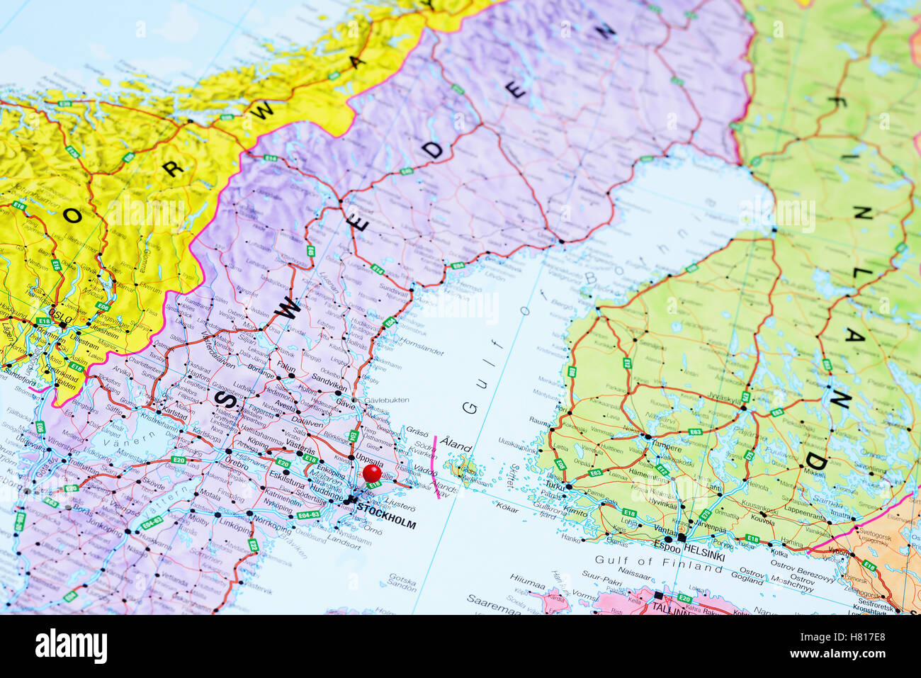 Stockholm pinned on a map of Sweden Stock Photo Royalty Free Image