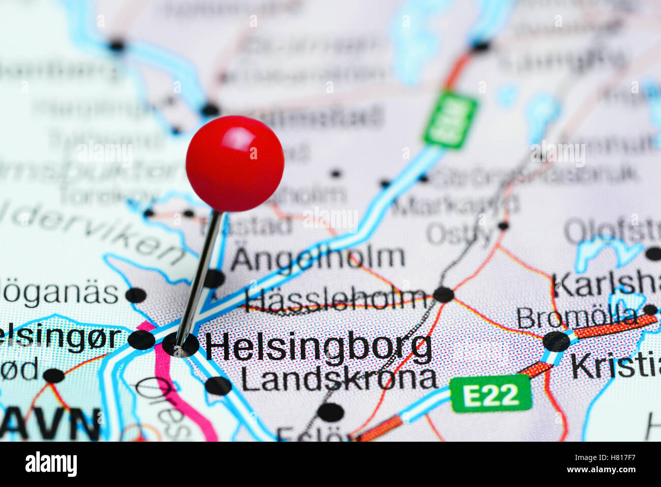Helsingborg Pinned On A Map Of Sweden Stock Photo Royalty Free - Sweden map helsingborg