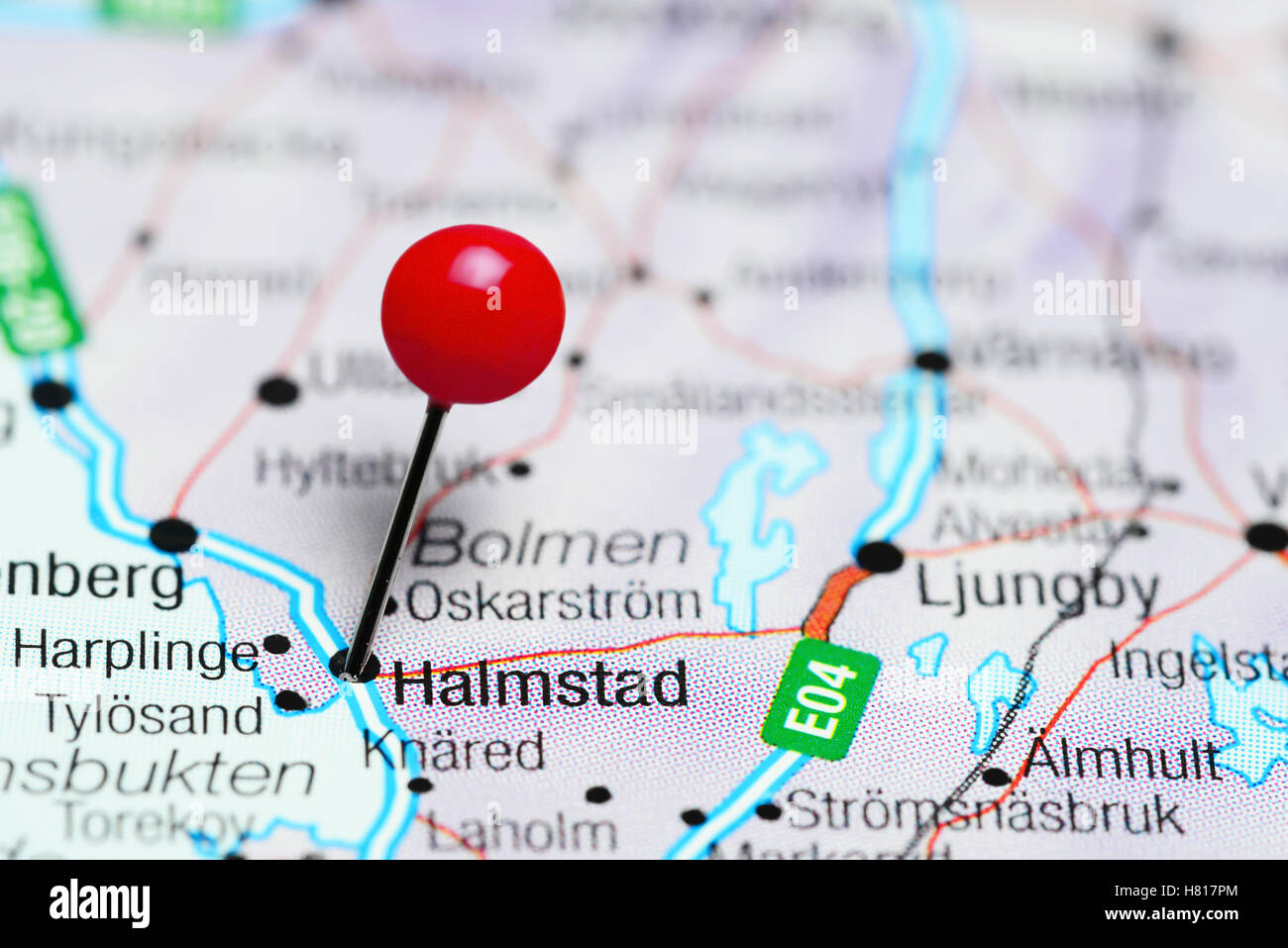 Halmstad Pinned On A Map Of Sweden Stock Photo Royalty Free Image - Sweden map halmstad