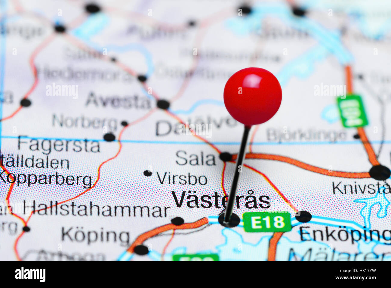 Vasteras pinned on a map of Sweden Stock Photo 125418045 Alamy