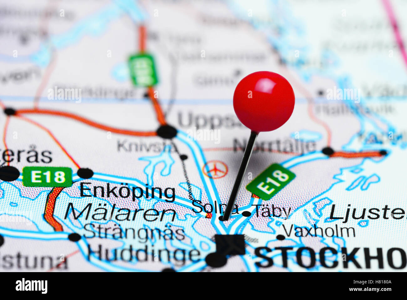 Solna Pinned On A Map Of Sweden Stock Photo Royalty Free Image - Sweden map solna