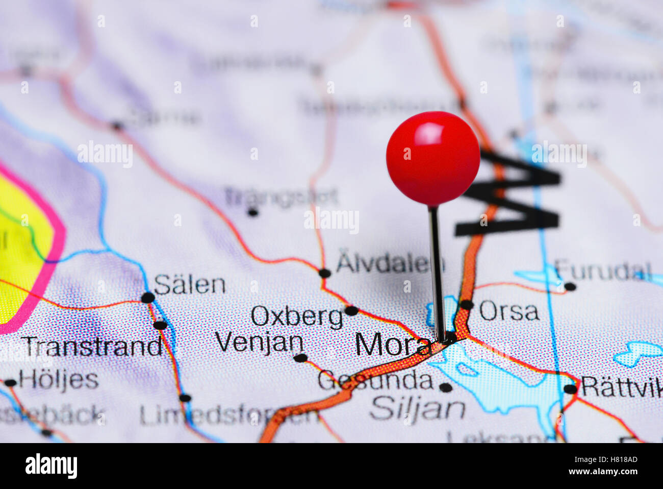 Mora Pinned On A Map Of Sweden Stock Photo Royalty Free Image - Sweden map mora