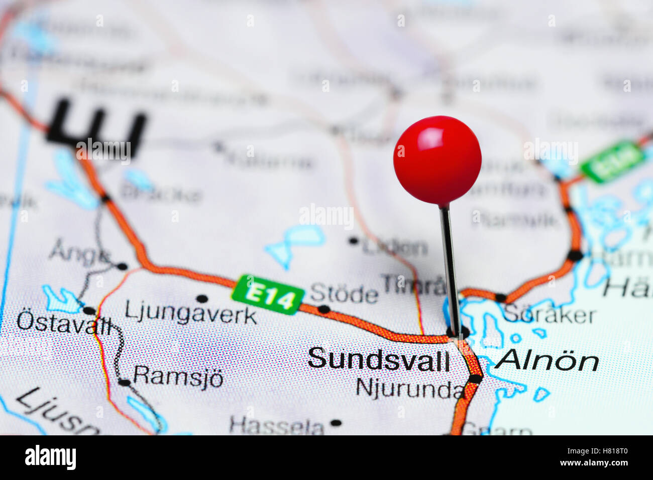 Sundsvall Pinned On A Map Of Sweden Stock Photo Royalty Free - Sweden map sundsvall