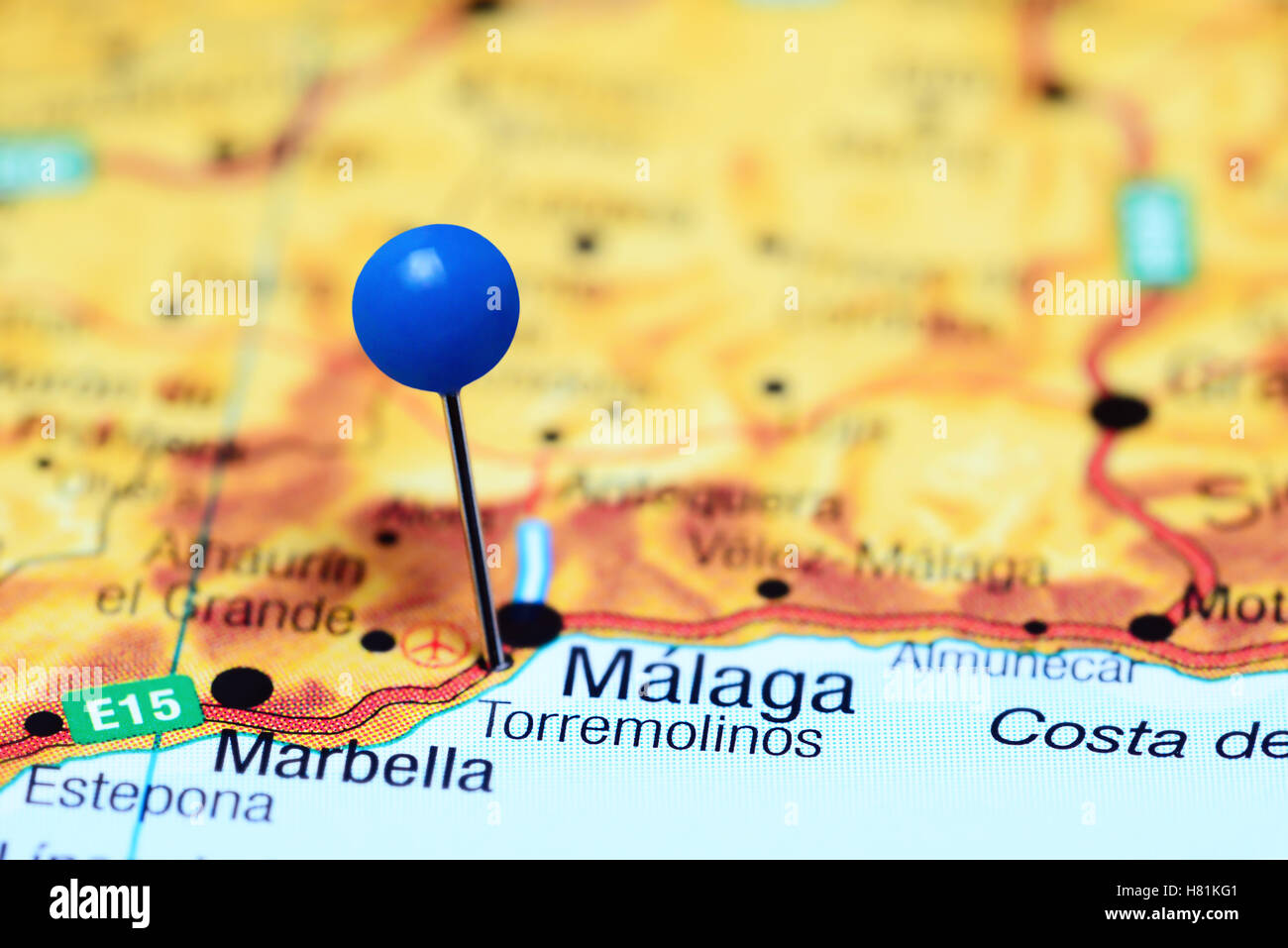 Torremolinos pinned on a map of Spain Stock Photo Royalty Free