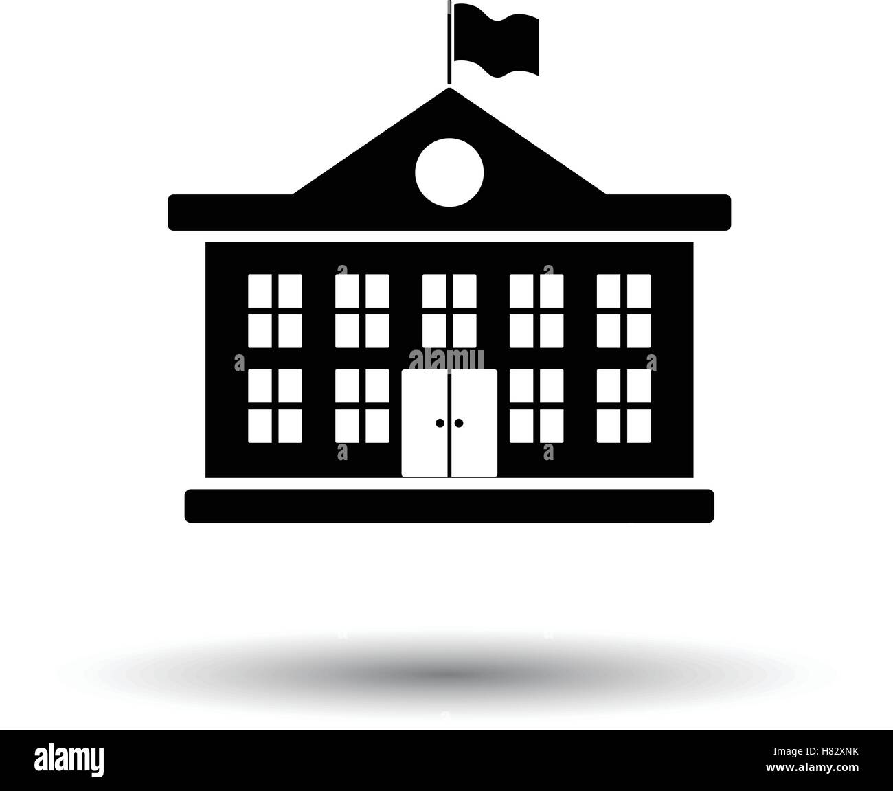School building icon. White background with shadow design ...