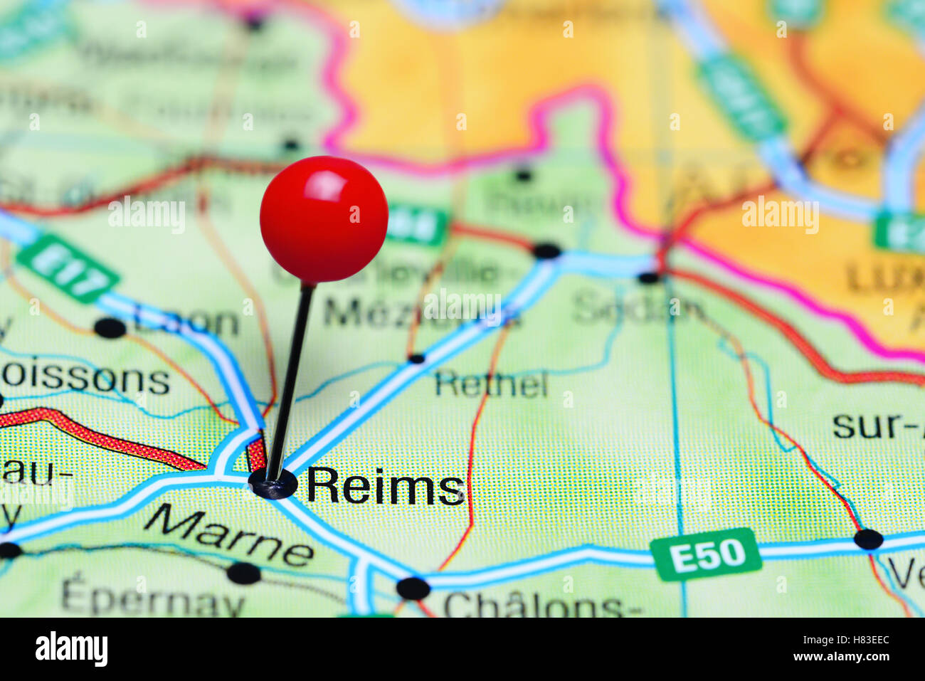 Reims pinned on a map of France Stock Photo 125467060 Alamy