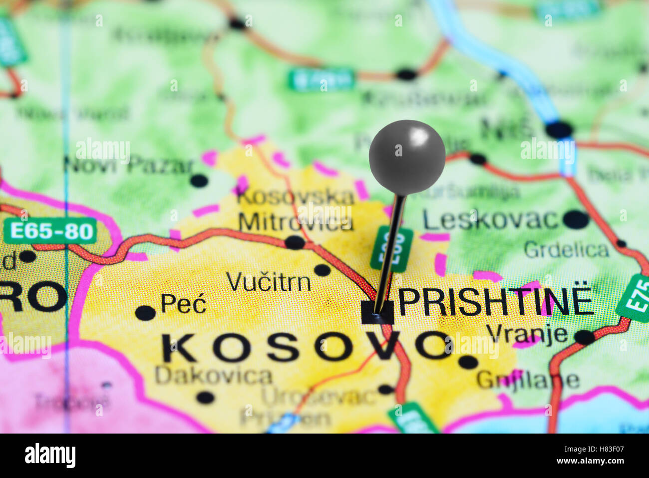 Pristina Pinned On A Map Of Kosovo Stock Photo Royalty Free Image - pristina map
