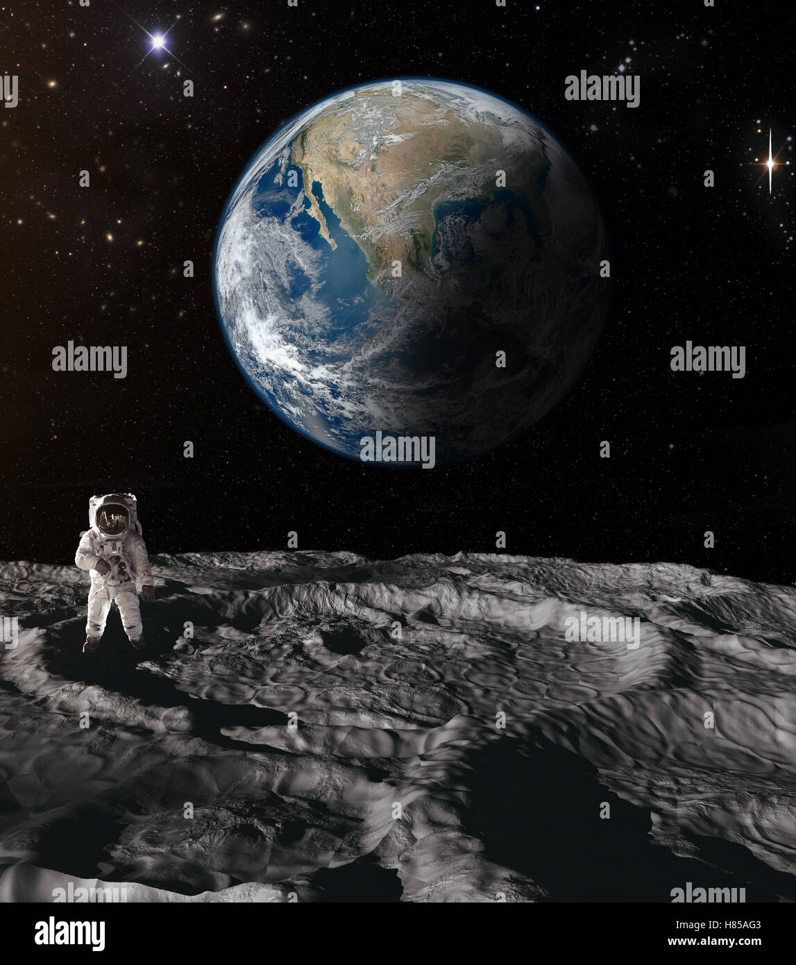 The astronaut on moon with earth in the background Stock ...