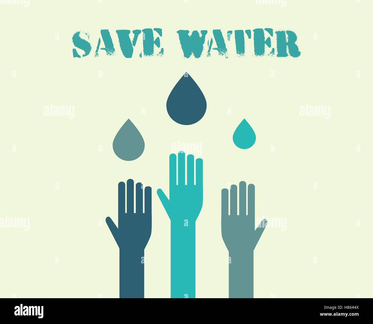 Poster design on save water - Save Water Poster Concept With Drops And Hands Ecology Water Crisis Background Vector Illustration