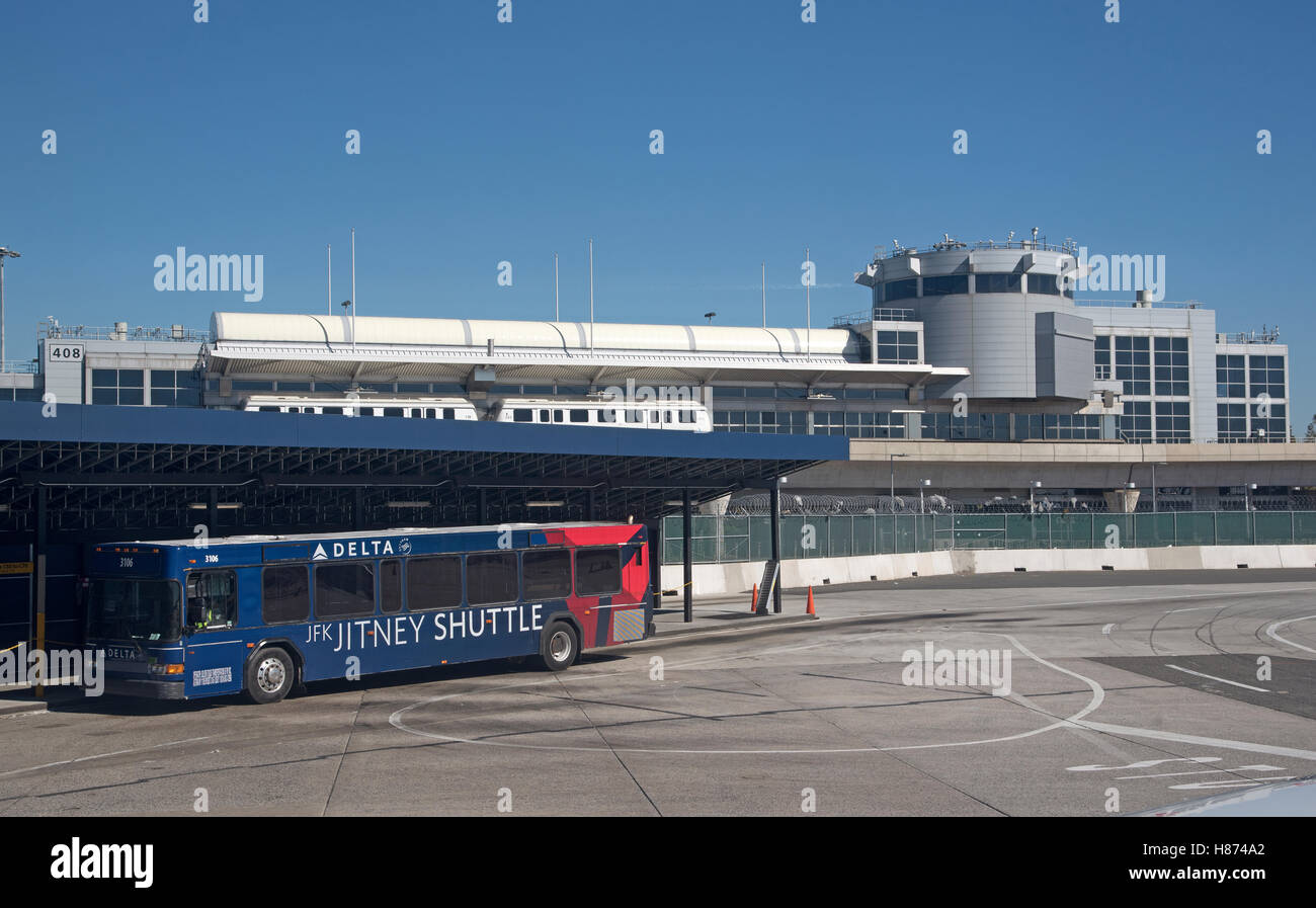 jfk airport new york usa shuttle bus and terminal building stock image