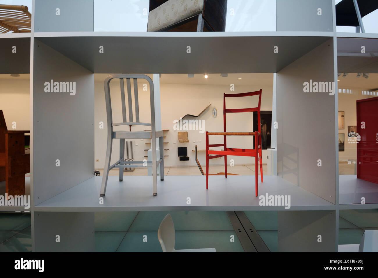 Belgium, Ghent (Gent), Interior Of The Design Museum, Chairs By Maarten Van  Severen