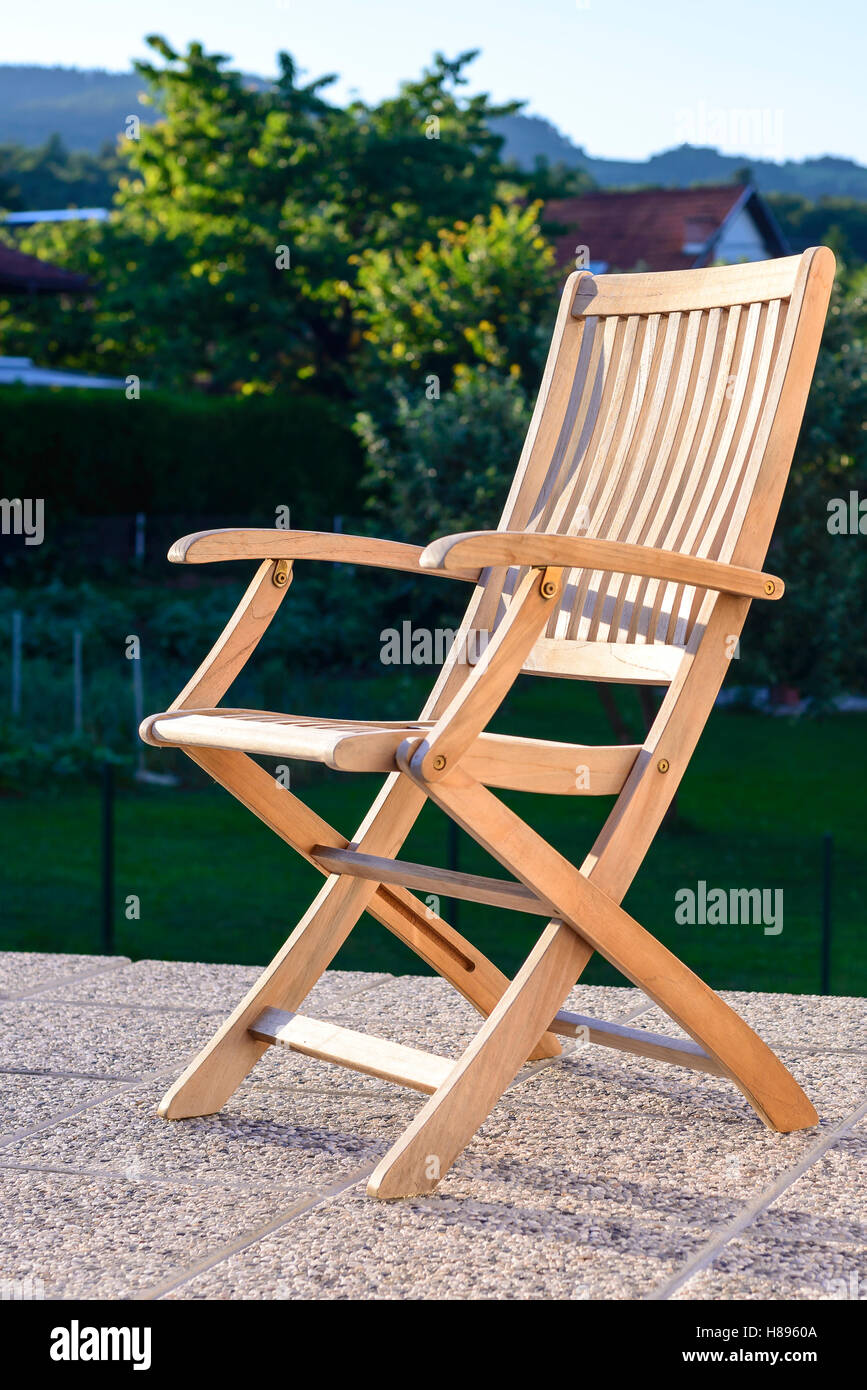 Amazing Foldable Deck Chair On Outdoor Terrace, Made Of Teak Tropical Hardwood