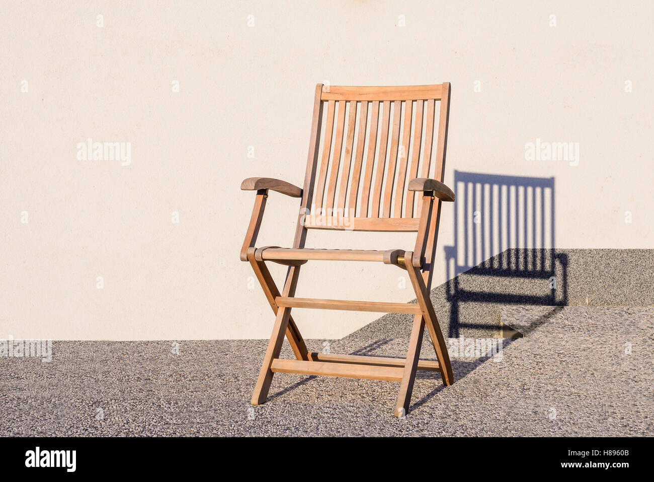 Foldable Deck Chair On Outdoor Terrace, Made Of Teak Tropical Hardwood