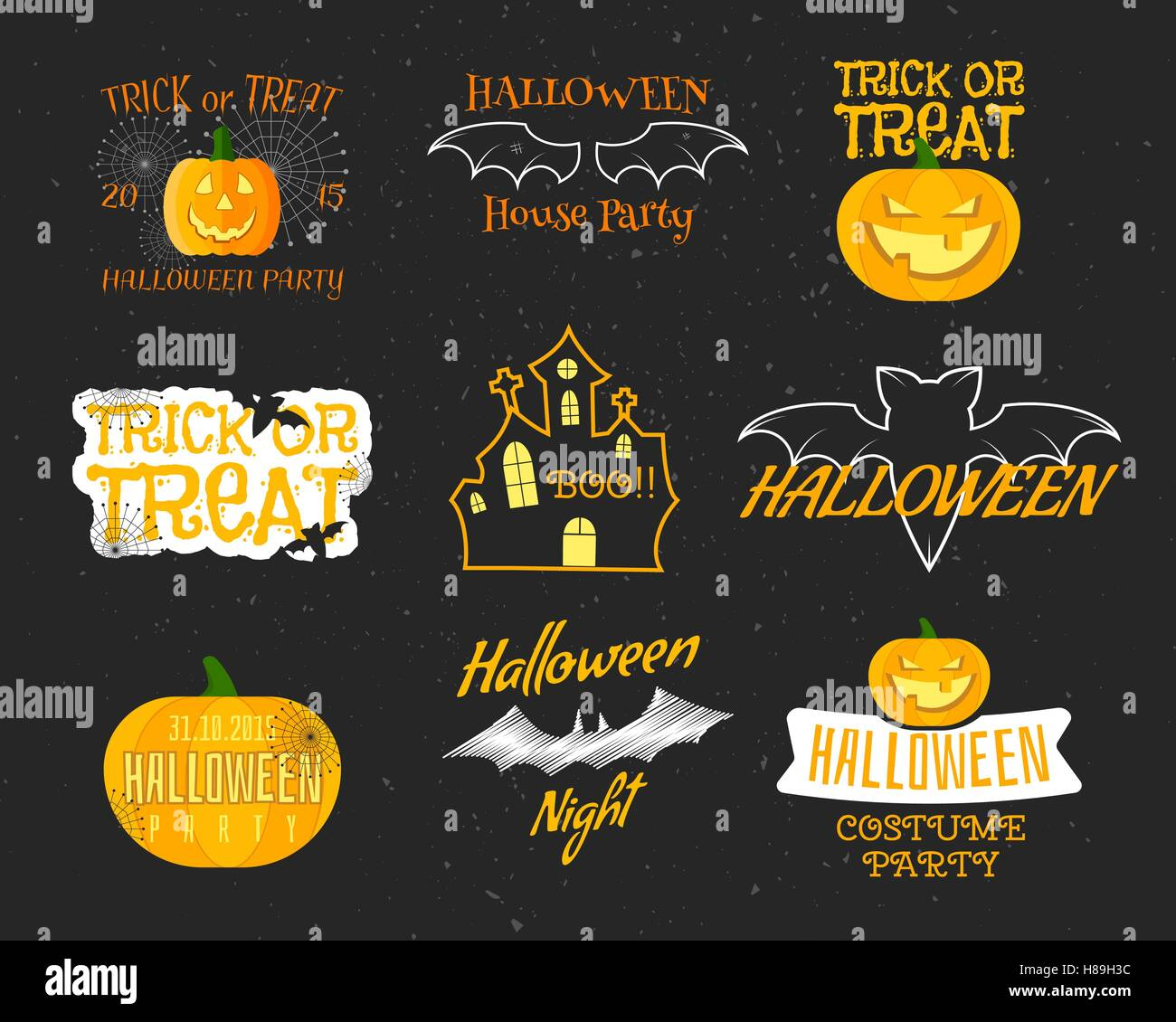 Set Of Vintage Happy Halloween Badges, Labels, Logos. Halloween ...