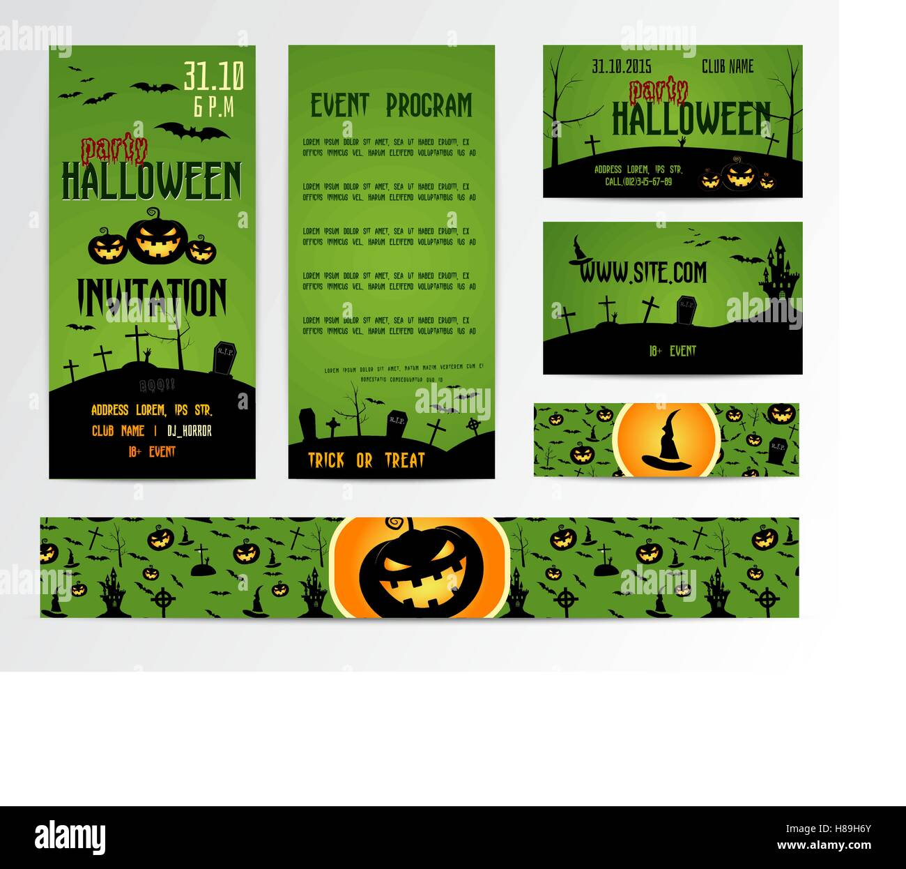 Set of happy halloween greeting cards flyer banner vector set of happy halloween greeting cards flyer banner vector party invitation design with emblem typographic template halloween label cover design kristyandbryce Images