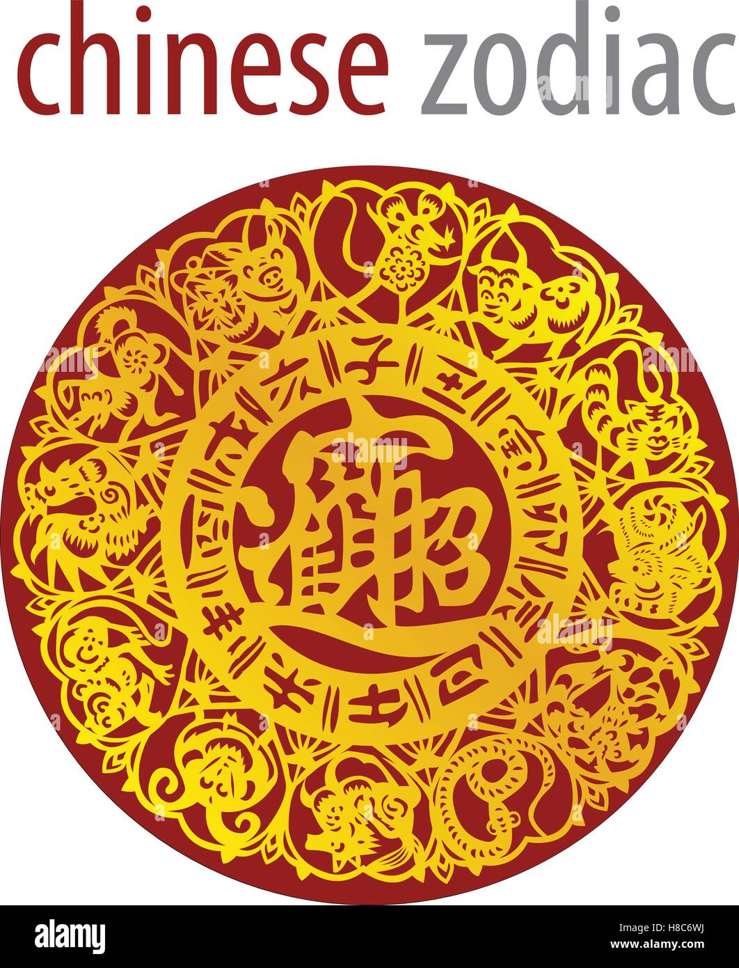 Zodiac chart stock photos zodiac chart stock images alamy chinese zodiac wheel with signs and the five elements symbols stock image nvjuhfo Images