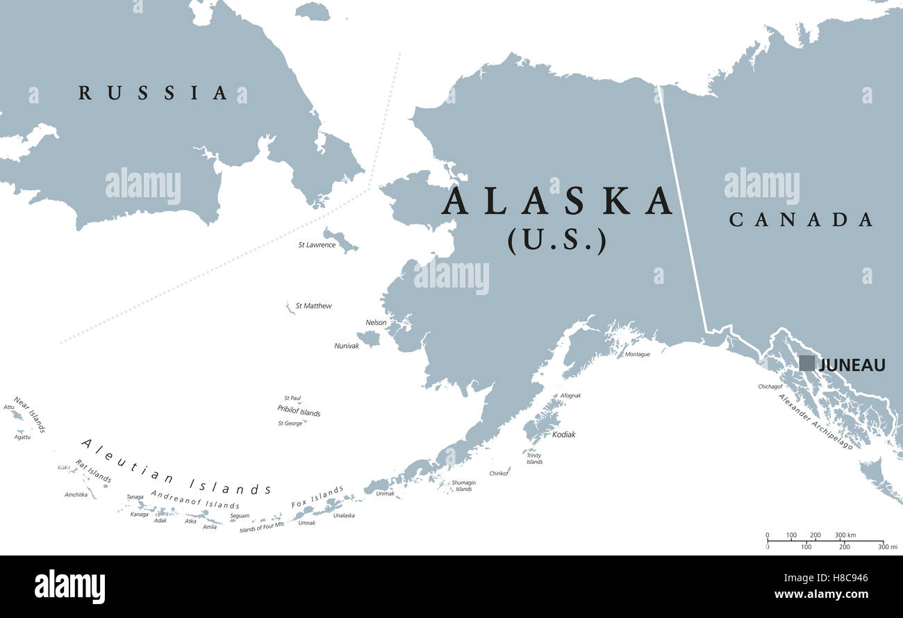 Alaska Political Map With Capital Juneau US State In The - Us state map with capitals