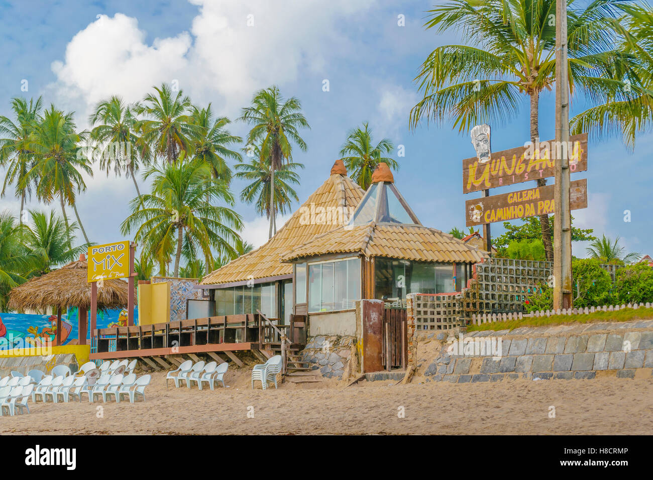 porto galinhas brazil january 2016 rustic style waterfront restaurant at tropical beach in porto galinhas pernambuco bra - Beach Style Restaurant 2016