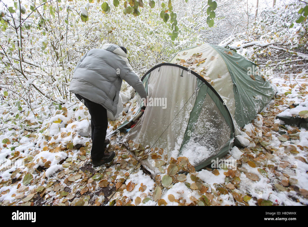 Hamburg, Germany. 09th Nov, 2016. Klaus Dieter D., A Homeless Man Living In  Hamburg, Outside In Subzero Temperatures With The Tent In Which He Sleeps  In A ...