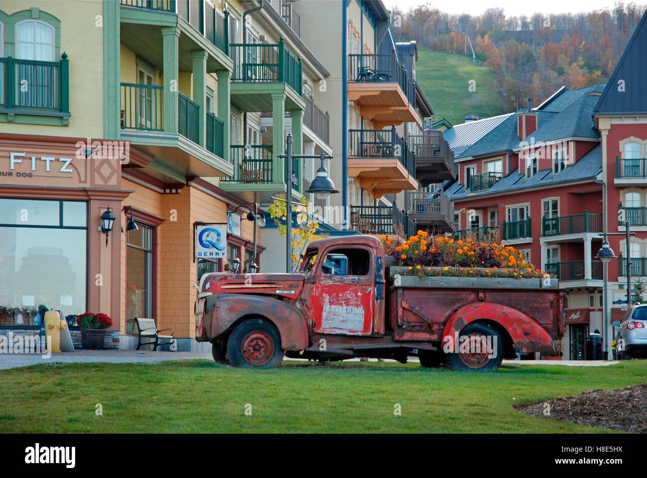 Old truck used as flowerbed at Blue Mountain resort, Collingwood ...