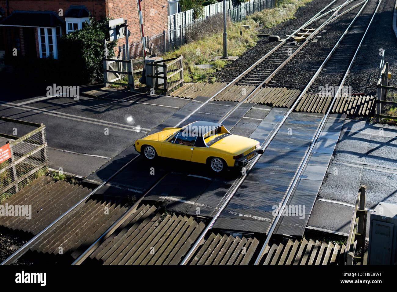 A Car At Bentley Heath Railway Level Crossing West Midlands Stock